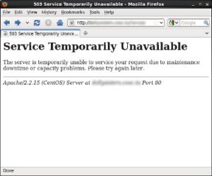 Error de servidor no disponible.